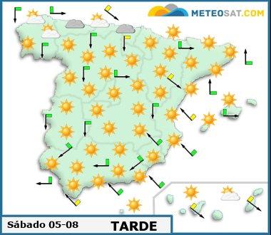 Mapa del tiempo en España previsto para hoy -http://www.meteosat.com/imagenes/mapas/sp/prevision_dia1_tarde.jpg?1363095870