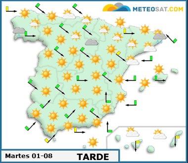 Mapa del tiempo en España previsto para hoy -http://www.meteosat.com/imagenes/mapas/sp/prevision_dia1_tarde.jpg?1415717236